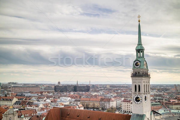 View overlooking the town of Munich with St. Peter's Church in the foreground. Stock photo © artjazz