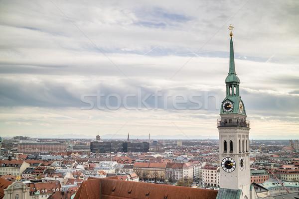 Ver cidade Munique igreja primeiro plano torre Foto stock © artjazz