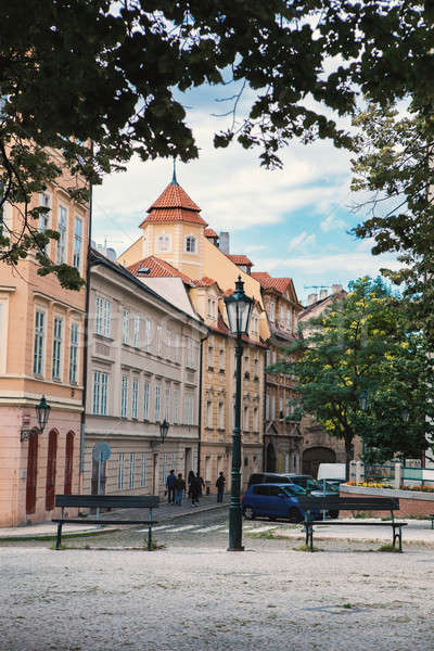 Corner of the street with stylish tenement house at Prague. Stock photo © artjazz
