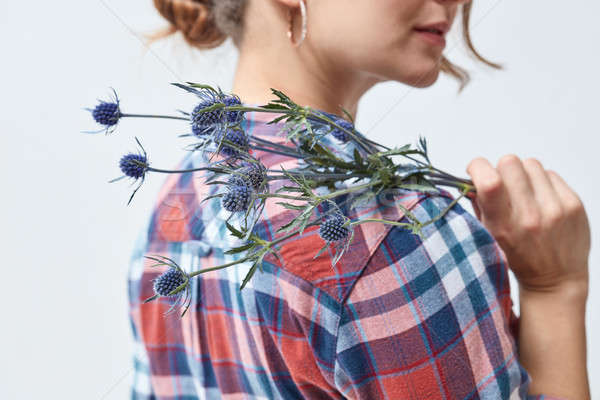 Young girl with flowers eryngium Stock photo © artjazz