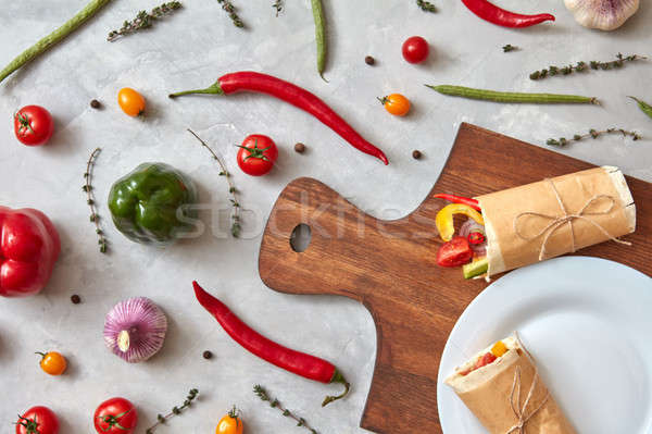 Fresh vegetable burrito on a plate Stock photo © artjazz