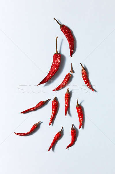 dry red chili pepper on a white background, top view Stock photo © artjazz