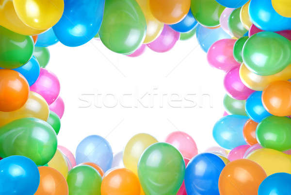 Stock photo: frame from color balloons isolated on white