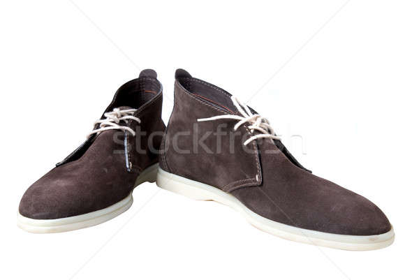 brown male leather shoes isolated on white Stock photo © artjazz