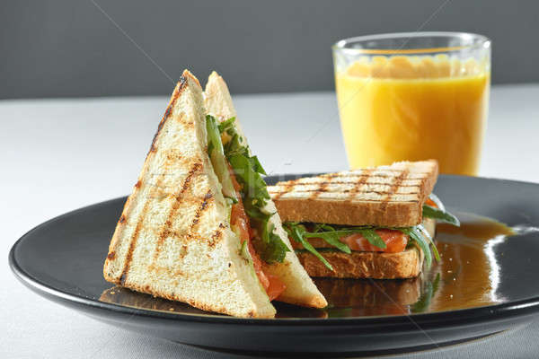 salmon sandwich with juice. Healthy food Stock photo © artjazz