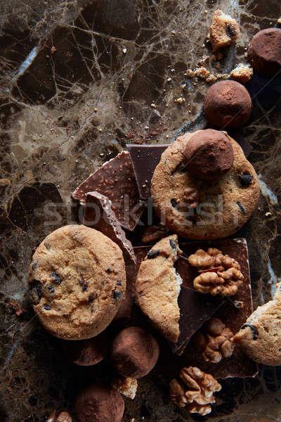 Fresh chocolate chip cookies Stock photo © artjazz
