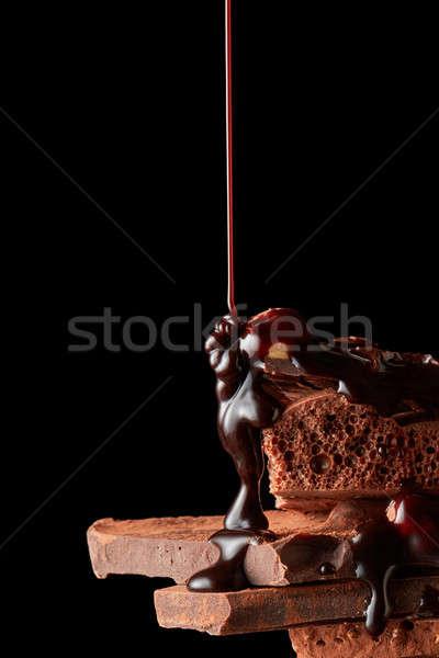 Foto d'archivio: Rotto · pezzi · cioccolato · sciroppo · di · cioccolato · cioccolato · fondente