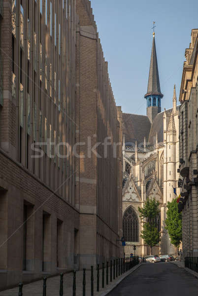 Estrecho calle catedral Bruselas vista Foto stock © artjazz