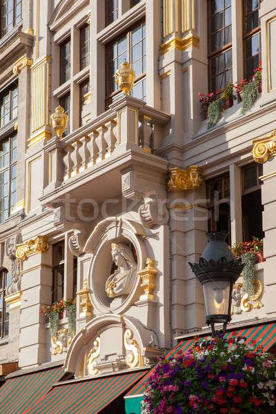 öreg lakás épületek Brüsszel homlokzat régi épület Stock fotó © artjazz