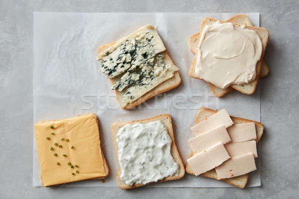 焼いた チーズ パン 異なる グレー 石 ストックフォト © artjazz