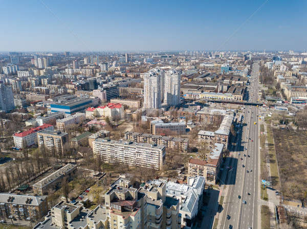 Landscape on the center of the city of Kiva with modern high-rise buildings and roads. Aerial view Stock photo © artjazz
