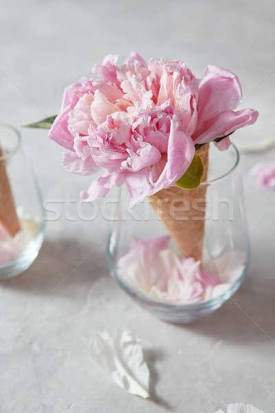 Post carte félicitations sweet gaufre cône Photo stock © artjazz