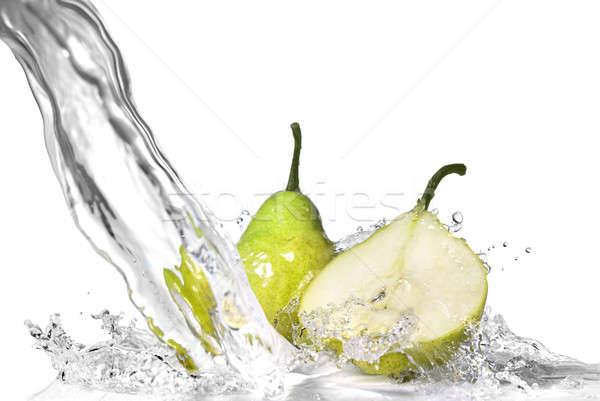 Zoetwater splash groene peer geïsoleerd witte Stockfoto © artjazz
