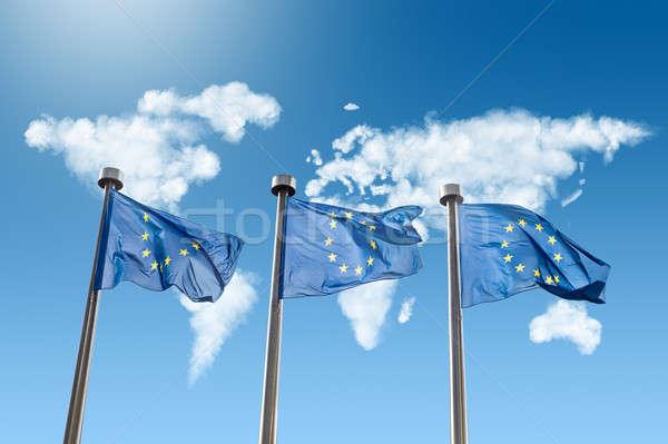 Stock fotó: EU · zászlók · világtérkép · felhők · fehér · kék · ég