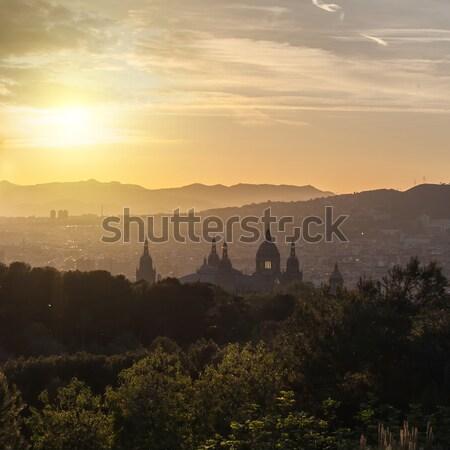 Gyönyörű naplemente múzeum Barcelona Spanyolország fa Stock fotó © artjazz