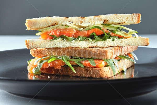 Sandviç çavdar krem peynir plaka Stok fotoğraf © artjazz