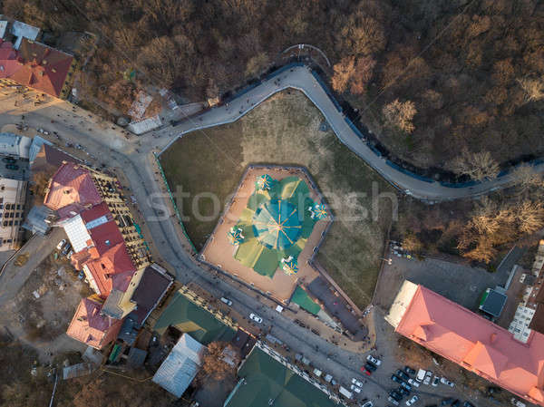 St. Andrew's church aerial top view in city Kiev, Ukraine Stock photo © artjazz