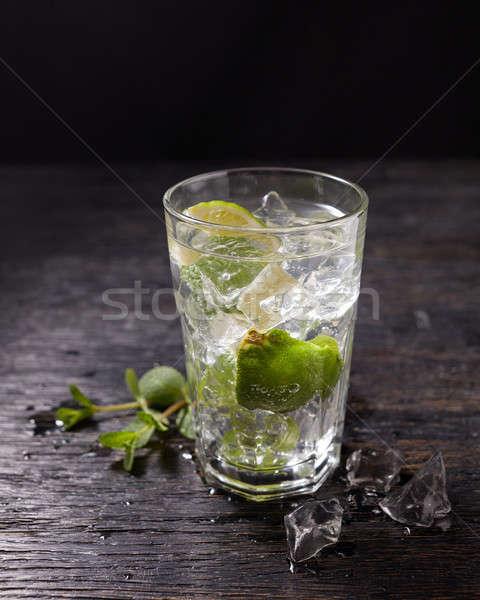Mojito cocktail ingredienti isolato nero vetro Foto d'archivio © artjazz