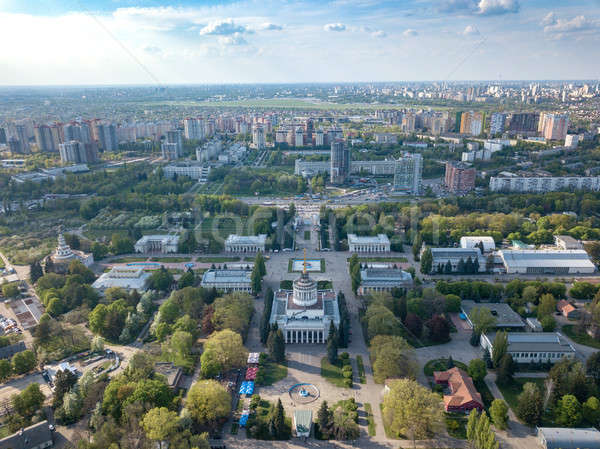 Panorama of the city of Kiev and the Exhibition Center against the sky in the spring. Photo from the Stock photo © artjazz