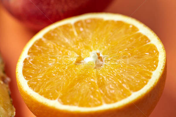Fresh Sliced citrus orange macro shot Stock photo © artjazz