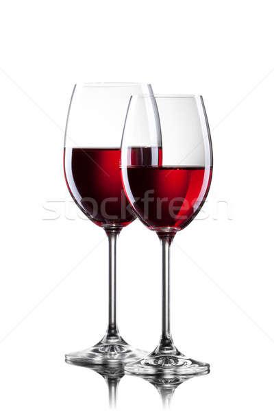 Foto d'archivio: Vino · rosso · occhiali · isolato · bianco · vino · bere
