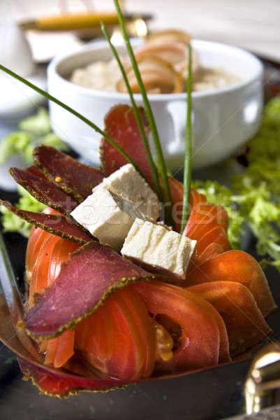 Felfelé szeletek szalonna étel háttér hús Stock fotó © artjazz