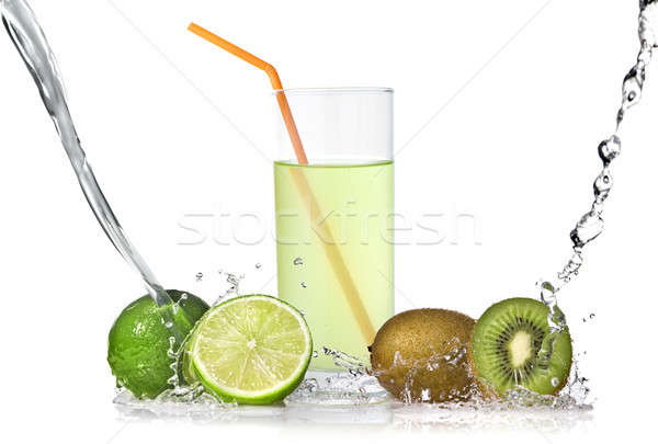 lime and kiwi juice with splash isolated on white Stock photo © artjazz