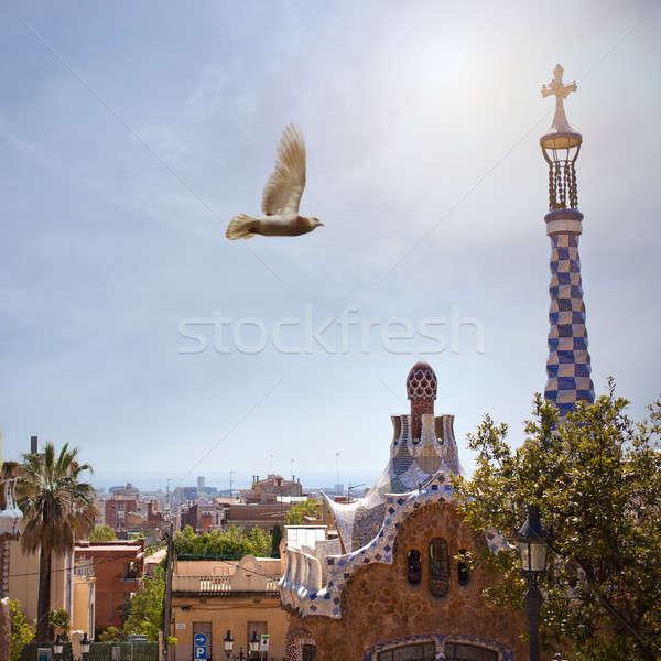 Parque Barcelona Espanha edifício natureza pássaro Foto stock © artjazz