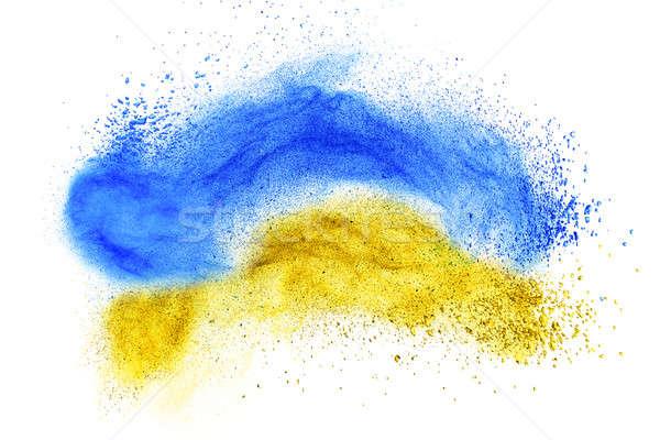Polvo base explosión aislado blanco cara Foto stock © artjazz