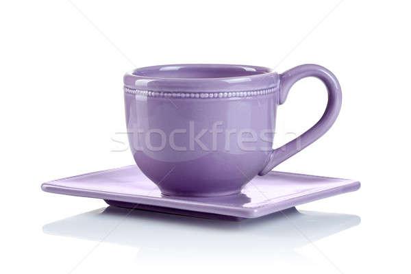 Purple Кубок блюдце изолированный белый продовольствие Сток-фото © artjazz