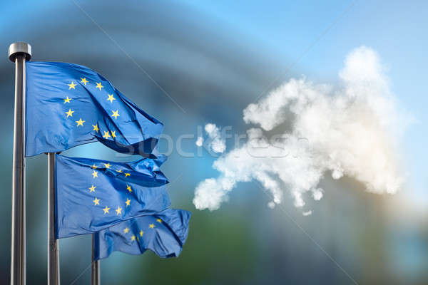 European union flags and map of Europe  Stock photo © artjazz