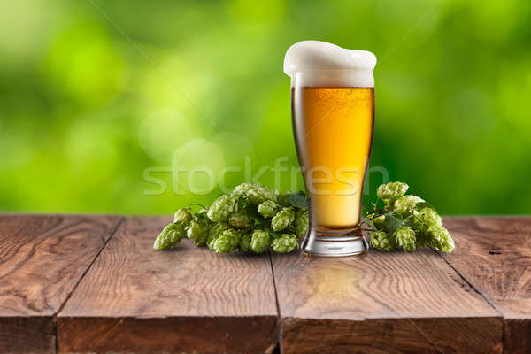 Still life with a keg of beer and hops. Stock photo © artjazz