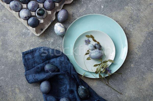 Easter Eggs niebieski tkaniny górę widoku malowany Zdjęcia stock © artjazz