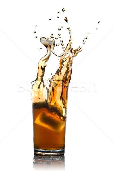 Stock fotó: Gyönyörű · csobbanás · kóla · jég · üveg · izolált