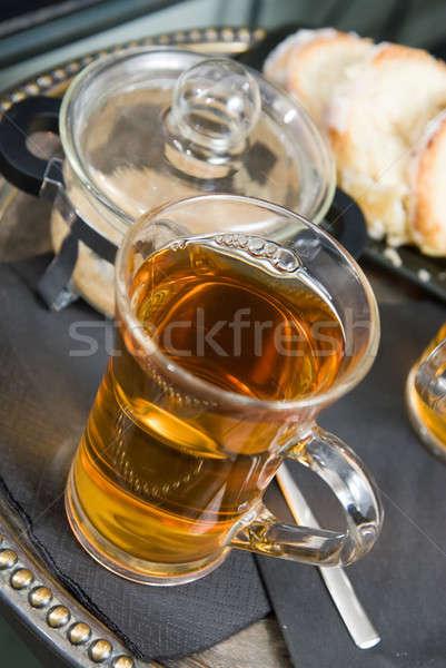 Herbaty ciasta szkła pustyni pomarańczowy przestrzeni Zdjęcia stock © artjazz
