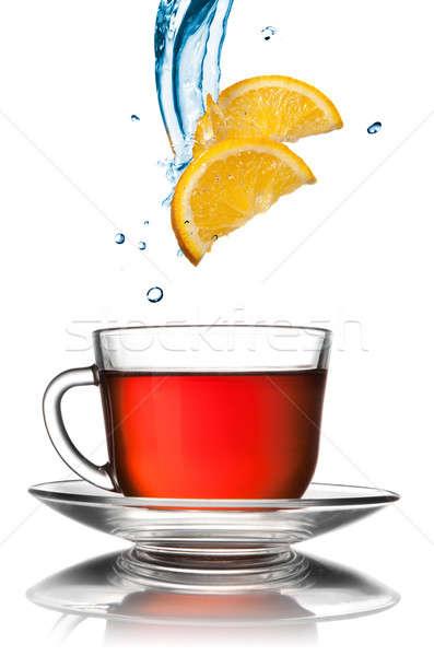 Fincan çay limon dilimleri yalıtılmış beyaz Stok fotoğraf © artjazz
