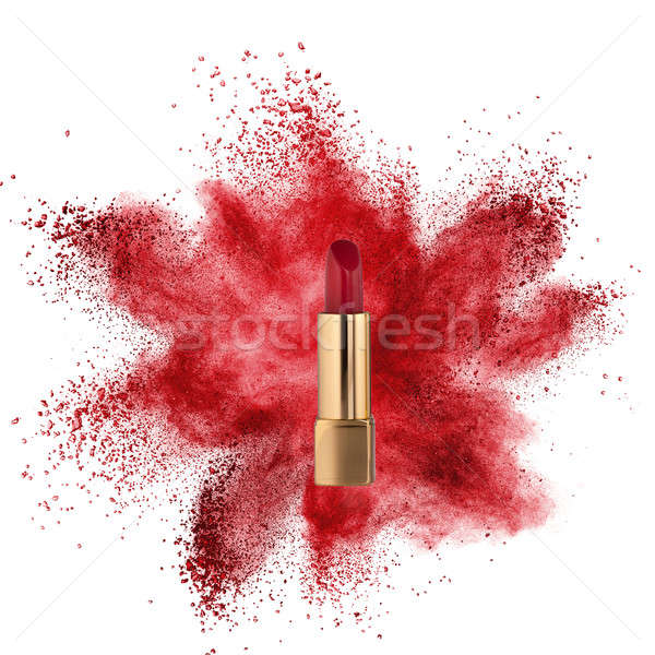 Red lipstick with powder explosion isolated on white Stock photo © artjazz