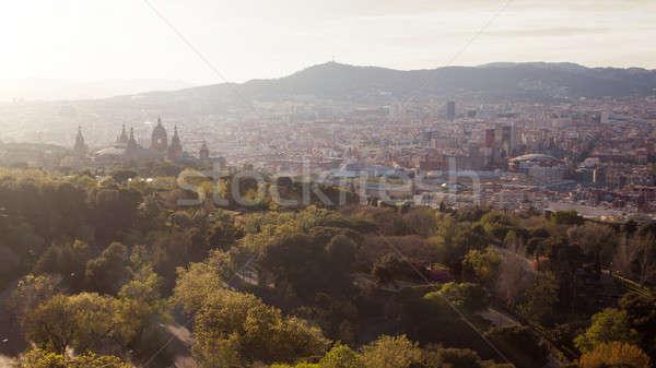 Barcelona şehir panoramik görmek dağ İspanya Stok fotoğraf © artjazz