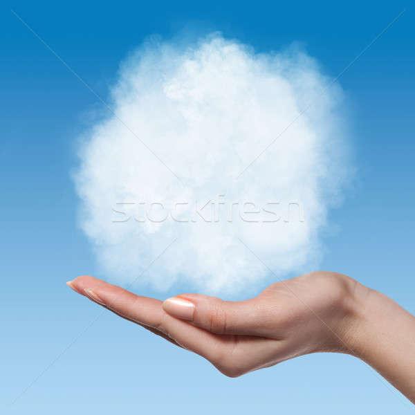Chmura kobieta ręce Błękitne niebo naturalnych opieki Zdjęcia stock © artjazz