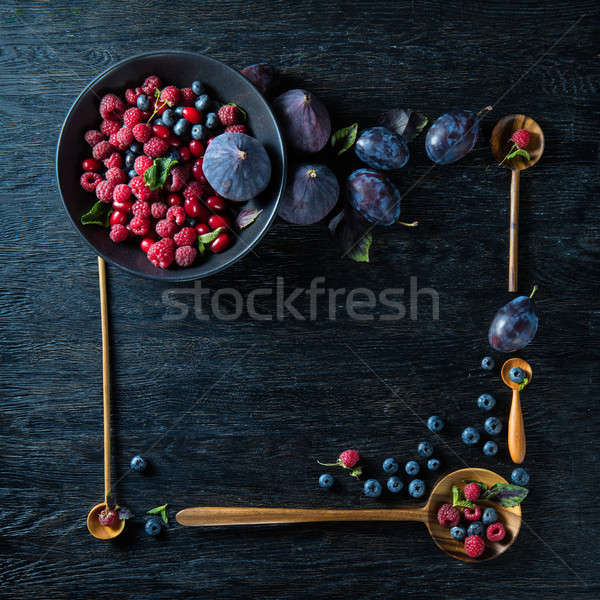 frame with berries and figs Stock photo © artjazz