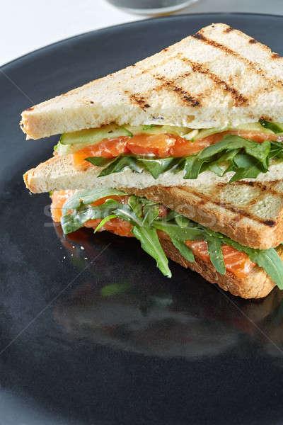 Foto stock: Macro · sanduíche · salmão · preto · prato · comida