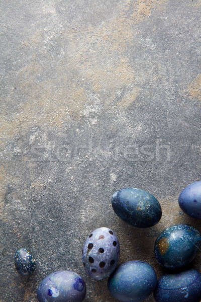 Stock fotó: Kék · húsvéti · tojások · függőleges · fotó · sötét · beton