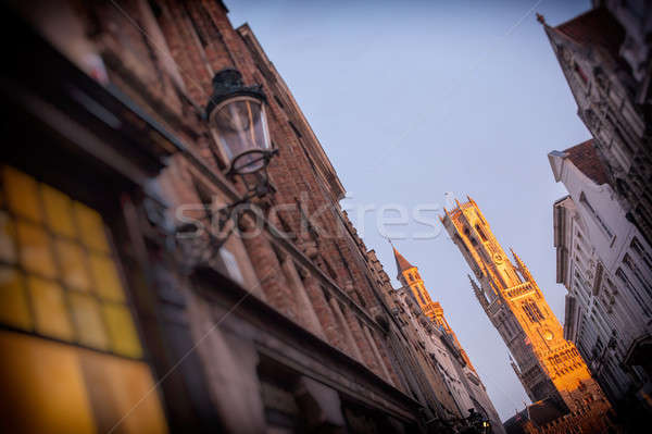 The belfry of Bruges at the night Stock photo © artjazz