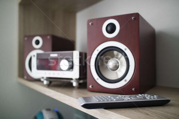 Wooden audio speakers and TV remote control on the shelf Stock photo © artjazz