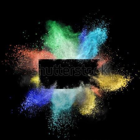 Kleurrijk poeder rond rechthoekig frame geïsoleerd Stockfoto © artjazz