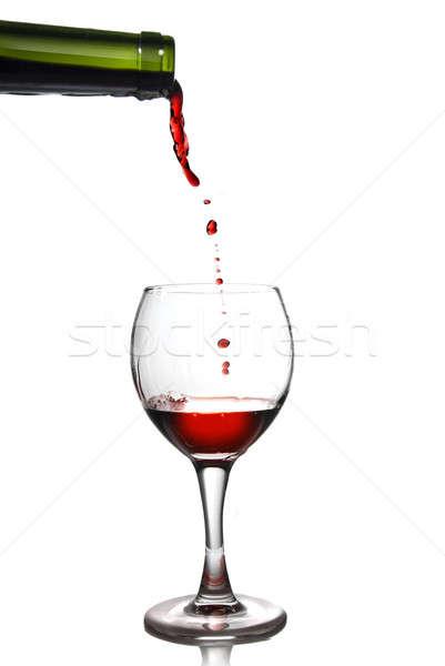 Pouring red wine in goblet Stock photo © artjazz