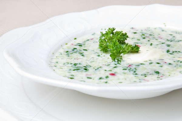 Stock fotó: Hideg · leves · zöldségek · hús · tányér · nyár