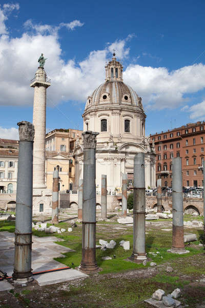 Roins of Roman Forum, Trajan's column in Rome Stock photo © artjazz