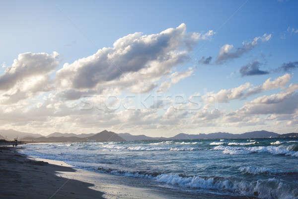 Sunset on beach of Can Picafort, Mallorca, Balearic Islands, Spa Stock photo © artjazz