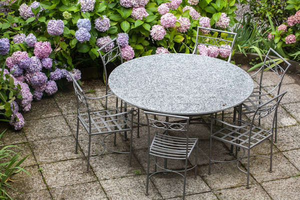 table and chairs in garden with color hydrangea Stock photo © artjazz